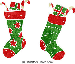 retro cartoon christmas stocking