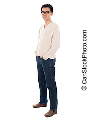 Front view full body casual Asian man standing isolated on...
