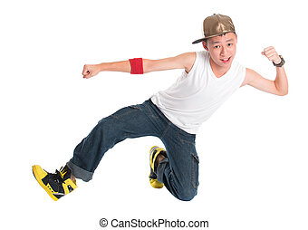 Young hip hop dancer - Full body cool looking Asian teen hip...