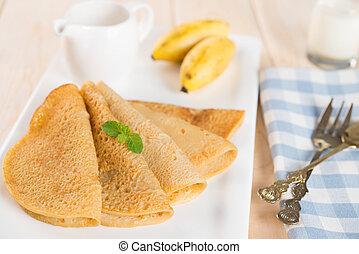 plátano, panqueque, o, crêpe