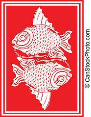 Chinese koi fishes.