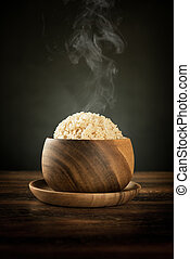 Cooked organic basmati brown rice with steam - Cooked...