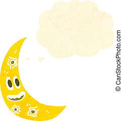 retro cartoon crescent moon with face