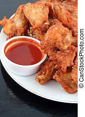 chicken wings and dip - chicken wings with spicy barbecue...