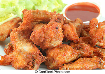 chicken wings and dip - chicken wings with hot spicy...