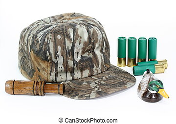 Duck Hunter - Hat, call, and shells for duck hunting. Focus...