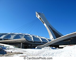 The Olympic stadium in Montreal during winter