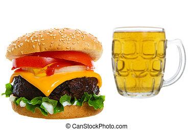 Cheeseburger with beer - Big Juicy cheese burger with beer...