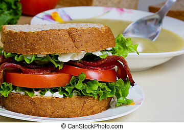 Sandwich with soup - A BLT sandwich and a bowl of split pea...