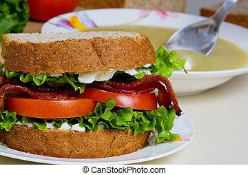 Sandwich with soup - A BLT sandwich and a bowl of split pea...