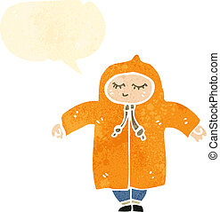 retro cartoon person in rain coat