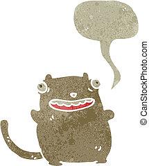 retro cartoon fat cat with speech bubble