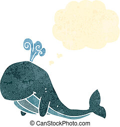 retro cartoon whale