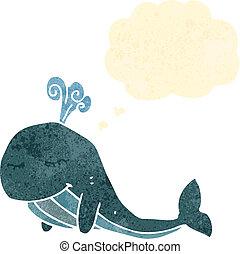 Retro, caricatura, ballena