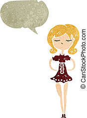retro cartoon skinny woman with speech bubble