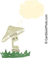 retro cartoon magic mushroom