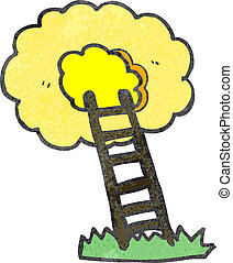 retro cartoon ladder to heaven