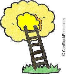 retro cartoon ladder to heaven