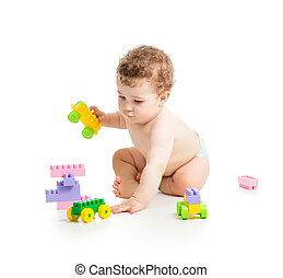 child boy with construction set over white background
