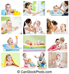 Collection of babies or kids at bath-time Hygiene concept...