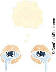 retro cartoon crying eyes with thought bubble