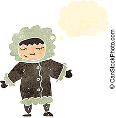 retro cartoon eskimo with thought bubble