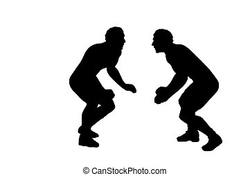 Silhouette of Two Wrestlers - Silhouette of two wrestlers...