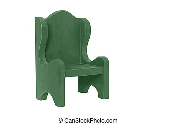 Small Green Wooden Chair - A small green wooden chair on...
