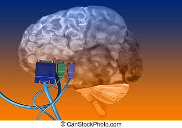 Brain with Cables Plugged In - Human Brain with cables...