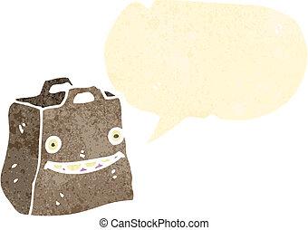 retro cartoon paper bag