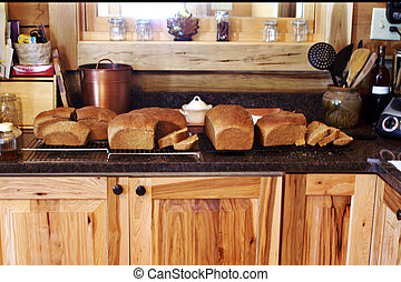 cima, mostrador, líneas, fresco, cocido al horno,  bread