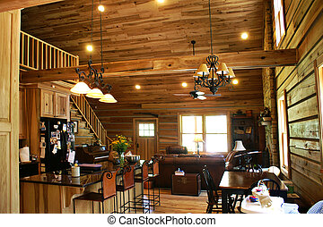Inside View of a Modern Log Cabin - Living room view of...