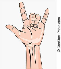 A man's hand giving the Rock and Roll sign