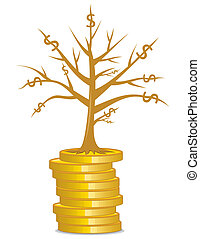 Golden money tree growing out from a coins