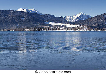 Winter at lake Tegernsee in Bavaria, Germany