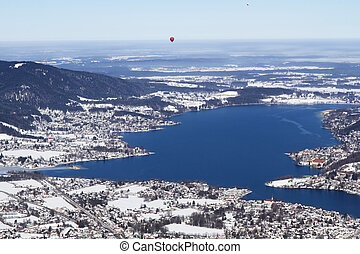 View to lake Tegernsee, Bavaria, Germany, in winter