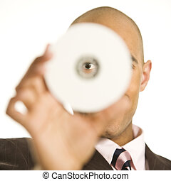 Man holding compact disc.