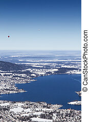 View to lake Tegernsee, Bavaria, in Winter - View to lake...