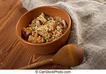 Russian Buckwheat porridge vegetables und with chicken...