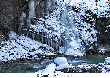 Partnachklamm gorge in Bavaria, Germany, in winter