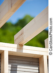 Roof beams of an unfinished roof - Detail of the roof beams...
