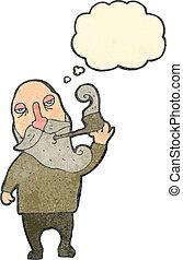 retro cartoon old man smoking pipe