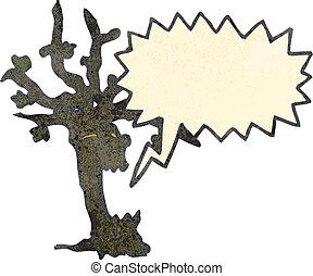 retro cartoon spooky tree with speech bubble