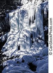 Frozen waterfall, seen in Bavaria, Germany