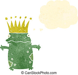 retro cartoon frog prince with thought bubble