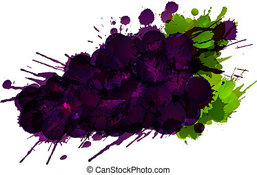 Grapes made of colorful splashes on white background