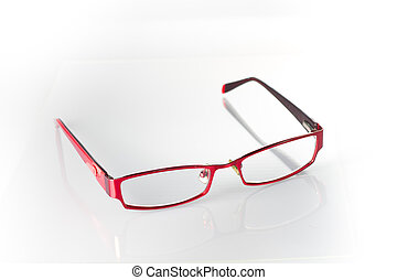 Red Spectacles on White - Red spectacles on isolated white...