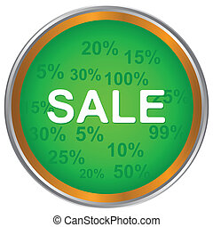 Sale icon - Green sale icon on a white background