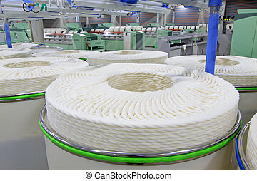 cotton group on a spinning production line in a factory