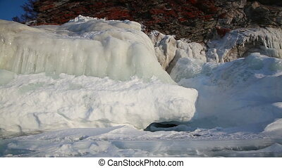 Ice coastline of Baikal lake - Shoot with slider using on...